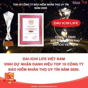 Dai Ichi Life Việt Nam Vinh Dự Nhận Danh Hiệu Top 10 Công Ty Bảo Hiểm Nhân Thọ Uy Tín Năm 2020